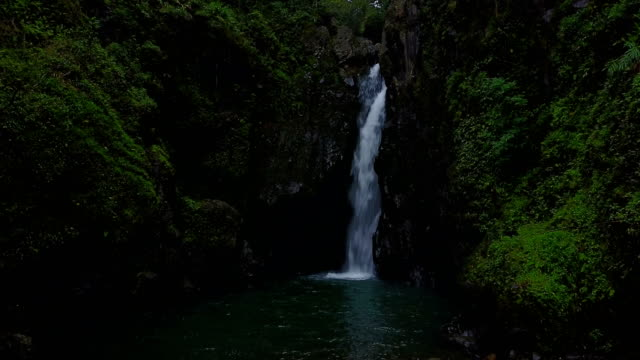 vídeos de stock e filmes b-roll de hovering above water in front of small waterfall on maui island - baixar