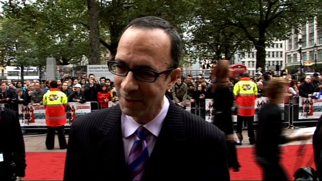 'how to lose friends and alienate people' london premiere robert weide interview continued/ simon pegg talking to press on red carpet - simon pegg stock videos & royalty-free footage