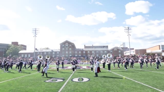 vídeos de stock e filmes b-roll de howard university's marching band performs during halftime of their 93rd annual homecoming game against north carolina at on saturday october 22 at... - regresso ao lar