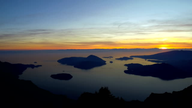 howe sound at sunset - british columbia stock videos & royalty-free footage