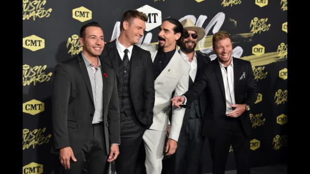 Howie Dorough Nick Carter Kevin Richardson AJ McLean Brian Litrell of Backstreet Boys attend the 2018 CMT Music Awards at Bridgestone Arena on June 6...