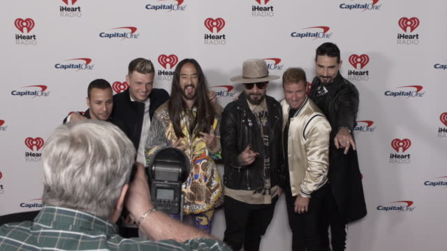 howie dorough, nick carter, steve aoki, aj mclean, brian littrell, and kevin richardson at the 2019 iheartradio music festival - day 1 at t-mobile... - backstreet boys stock videos & royalty-free footage