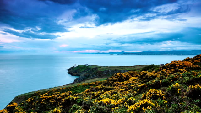 howth head sunset time lapse - republic of ireland stock videos & royalty-free footage