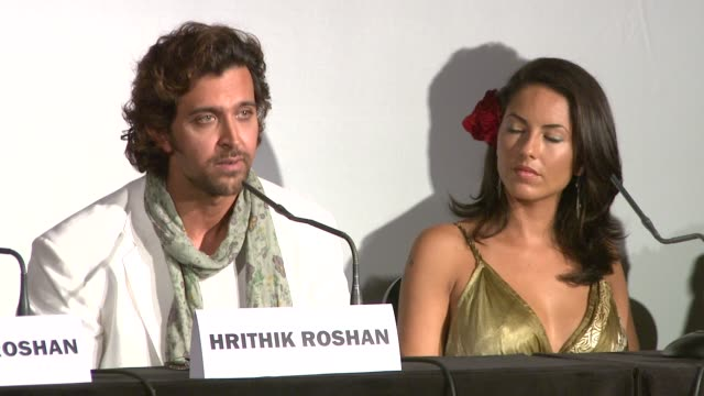 hrithik roshan on kissing in the movie and on the poster at the cannes film festival 2009 kites photocall and press conference at cannes - festival poster stock videos & royalty-free footage