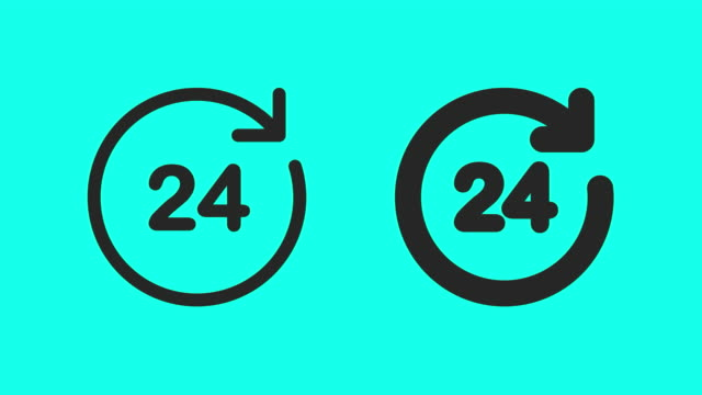 24 hrs icons - vector animate - arrow symbol stock videos & royalty-free footage