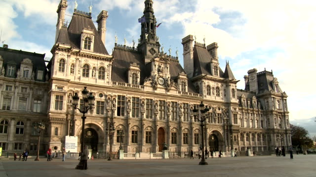 hôtel de ville, paris - government building stock videos and b-roll footage