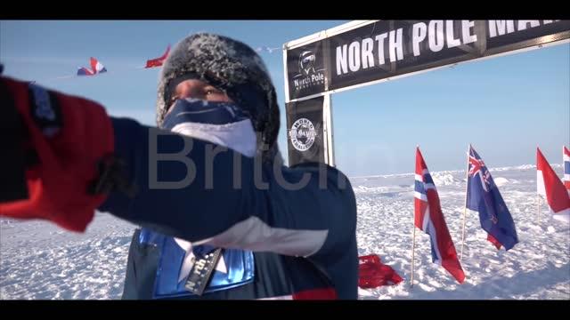 //www.facebook.com/tuga63?fref=ufi doug white , aka captain america, took on the 2016 http://www.npmarathon.com/ north pole marathon on april 9. the... - https stock-videos und b-roll-filmmaterial