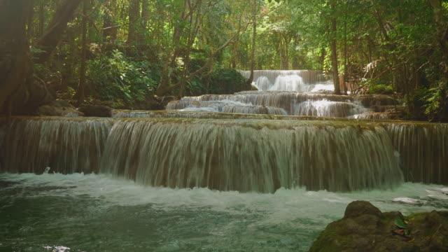 huai mae khamin waterfall in kanchanburi.waterscape - flowing water stock videos & royalty-free footage
