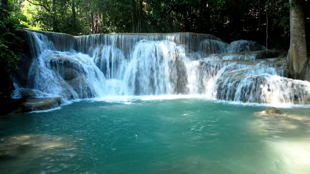 huai mae khamin waterfall - waterfall stock videos & royalty-free footage