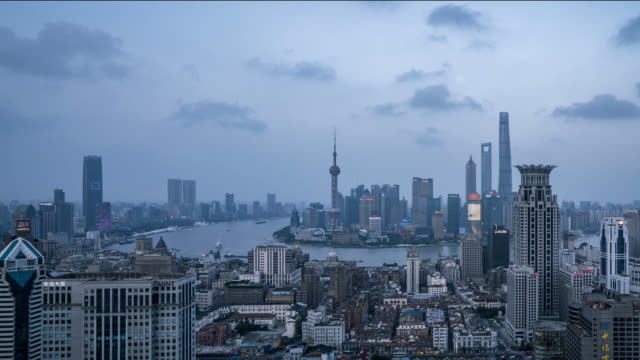 huangpu river skyline under blue sky and white clouds - river huangpu stock videos & royalty-free footage