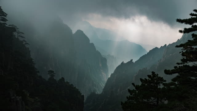 huangshan yellow mountains of china timelapse - majestic stock videos & royalty-free footage