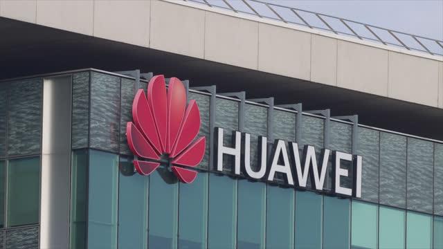 huawei headquarters, france - ロゴマーク点の映像素材/bロール