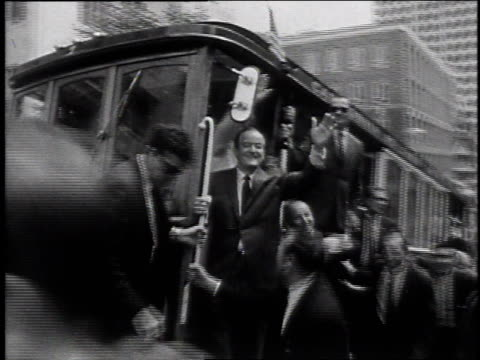 hubert humphrey riding a trolley / united states - 1968 stock videos & royalty-free footage