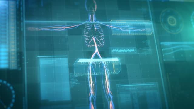 vídeos de stock, filmes e b-roll de painel de controle do hud - interface de futuro - osso