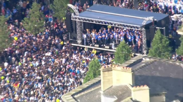 huddersfield town celebrates promotion to premier league; air view / aerial large crowd celebrating huddersfield town promotion to premier league - huddersfield town football club stock videos & royalty-free footage