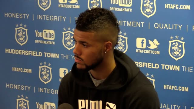 huddersfield town forward elias kachunga looks ahead to the second leg of the play-off semi-final against sheffield wednesday this wednesday night. - huddersfield town football club stock videos & royalty-free footage