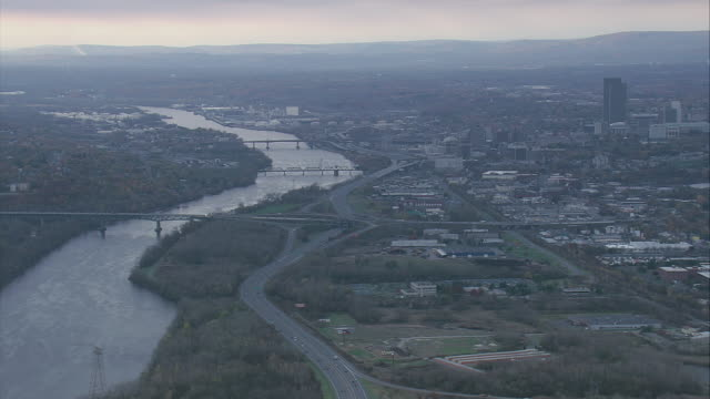 aerial hudson river / albany, new york, united states - albany new york state stock videos & royalty-free footage