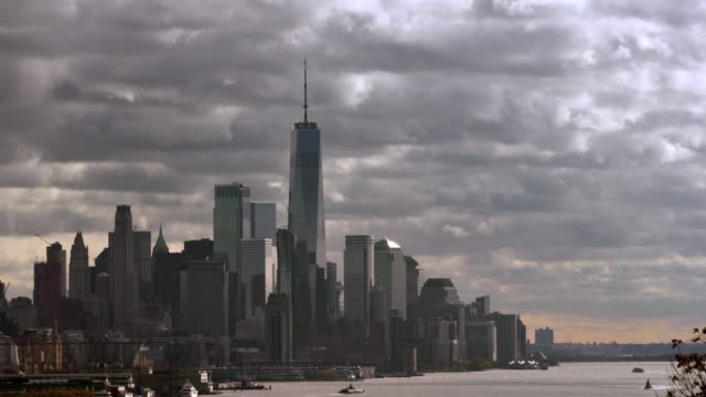 hudson river and downtown manhattan with moving clouds 2 - ominous stock videos & royalty-free footage
