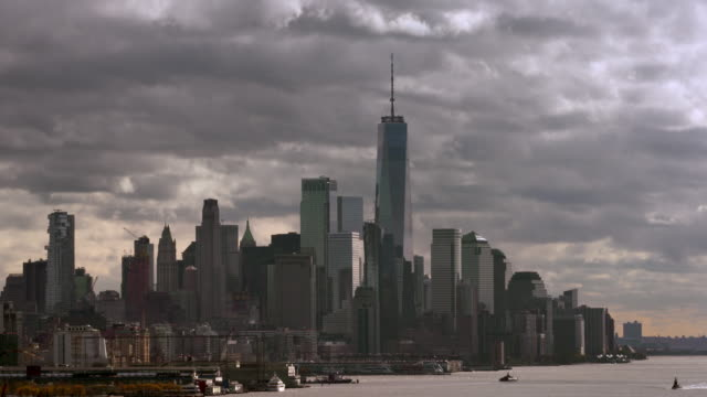 hudson river and downtown manhattan with moving clouds 3 - ominous stock videos & royalty-free footage