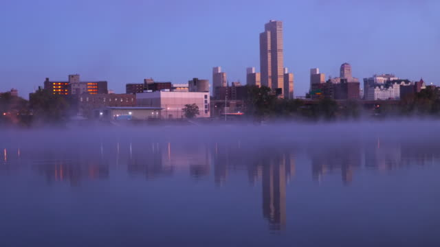 hudson river fog and the albany new york skyline - hudson valley stock videos and b-roll footage