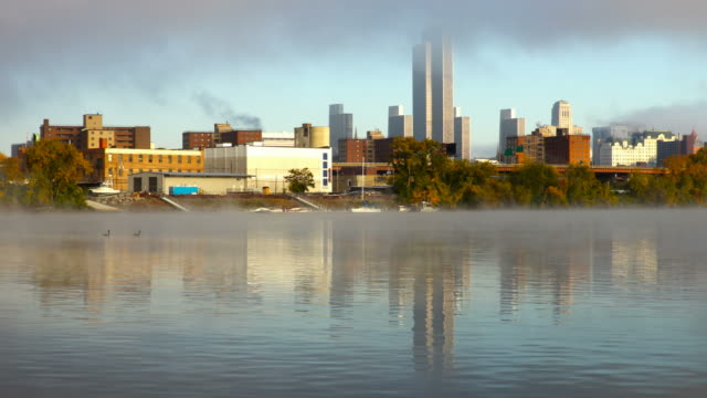 Hudson River Fog and the Albany New York skyline