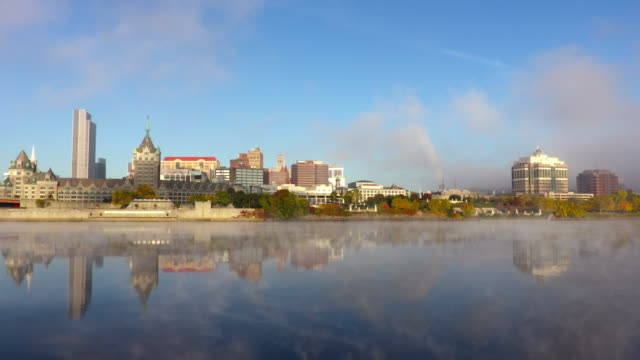 hudson river mist and the albany new york skyline - hudson valley stock videos and b-roll footage