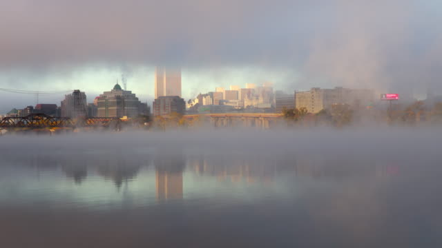 hudson river mist and the albany new york skyline - albany new york state stock videos & royalty-free footage