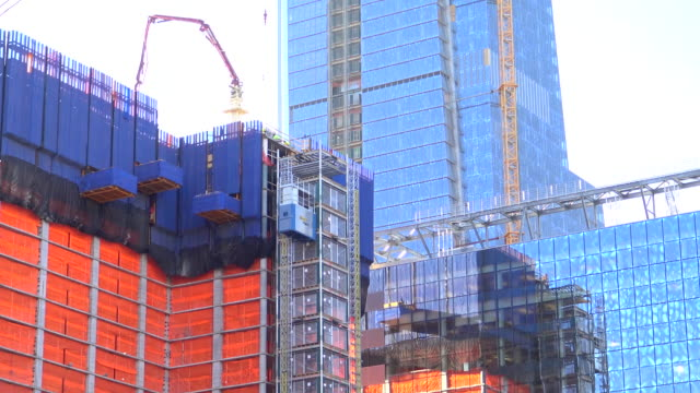 hudson yards, building construction, new york city, 2015 - chelsea new york stock videos & royalty-free footage