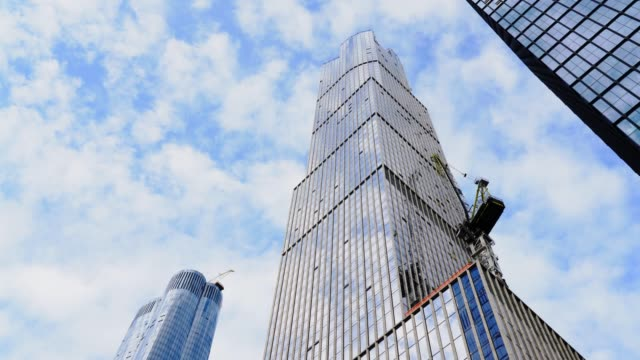 hudson yards cloud reflection time lapse - curtain wall facade stock videos and b-roll footage