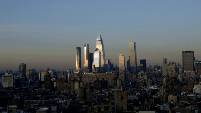 hudson yards midtown cityscape - lockdown stock videos & royalty-free footage