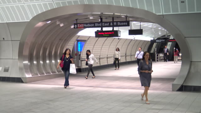hudson yards subway, 7 train, new york city - western script stock videos & royalty-free footage
