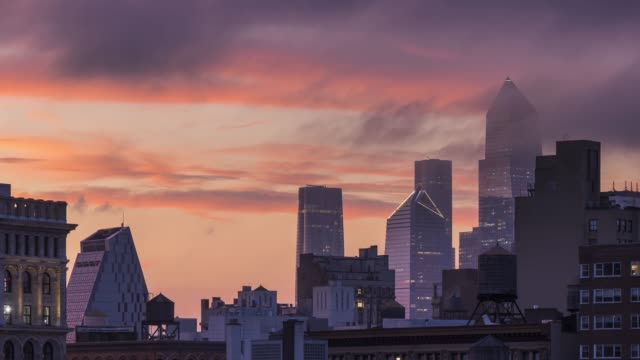 hudson yards sunset time lapse - new york - greenwich village stock videos & royalty-free footage