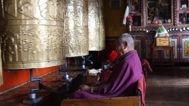Huge bells in Buddhist monastery in the mountains of Darjeeling
