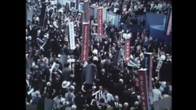 huge crowd cheering and waving banners at the 1968 democratic national convention at the conrad hilton in chicago - 1968 stock videos & royalty-free footage