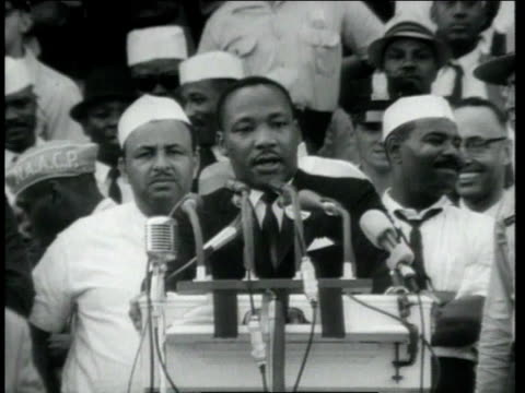 huge crowd gathered at washington monument as dr. martin luther king jr. begins his speech / washington, district of columbia, united states - 1963 stock videos & royalty-free footage