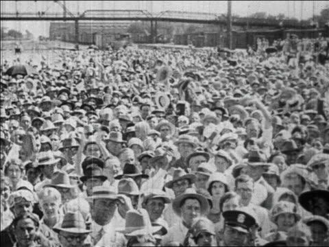 huge crowd gathered to hear hoover speak waving to camera / newsreel - 1928 stock videos & royalty-free footage