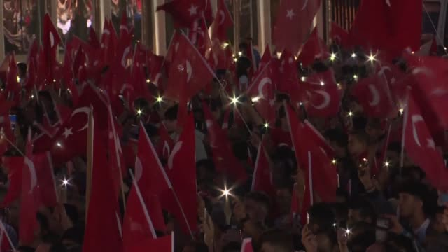 huge crowd joins turkish president recep tayyip erdogan to mark the third anniversary of a bloody coup attempt - coup d'état stock videos & royalty-free footage