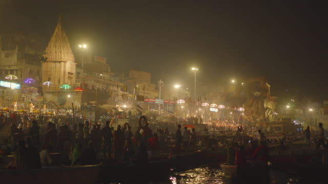 Huge crowd watching the Aarti ceremony on the Ganges river