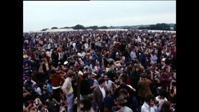 huge crowds of people wait at isle of wight festival; 1969 - concert stock videos & royalty-free footage