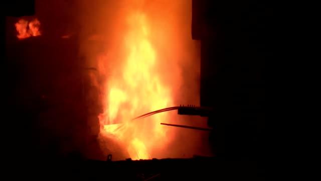 Huge flame and hot metal