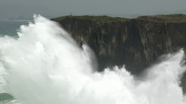 huge hurricane waves crash into cliffs - cliff stock videos & royalty-free footage