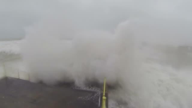 Huge Hurricane Waves Smash Into Waterfront