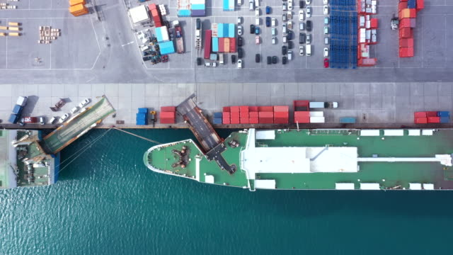 huge industrial harbor and commercial dock - ship stock videos & royalty-free footage