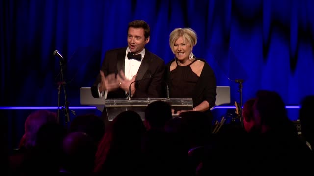 huge jackman and wife deborra-lee furness introduce and present honor to his mother in law fay duncan at gabrielle's angel foundation hosts angel... - wife stock videos & royalty-free footage