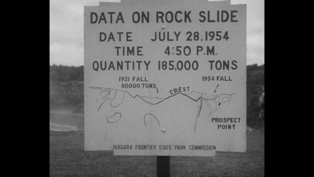 """huge pile of rocks with the falls behind it; a view of the outcropping to be dynamited / sign: """"data on rock slide, date july 28 time 4:50pm,... - 起爆装置点の映像素材/bロール"""