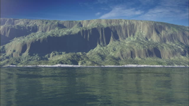 a huge portion of an island suddenly sinks into the pacific ocean creating a tidal wave. - tsunami stock videos & royalty-free footage