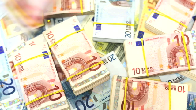 huge quantity of banknotes - euro symbol stock videos and b-roll footage