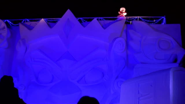 huge snow and ice sculptures got ready for this year's sapporo snow festival one of asia's largest winter events and some were made public on monday... - snow festival stock videos & royalty-free footage