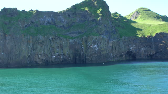 Huge steep cliffs with puffin colonies at Heimaey Island, Vestmannaeyjar archipelago, Iceland