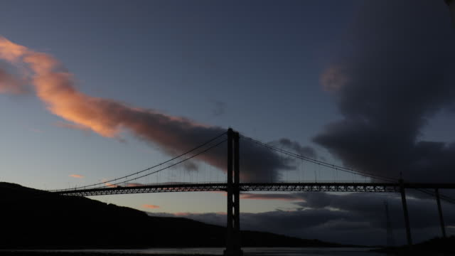 huge suspension bridge crossing sea fjord norway low angle view time lapse - low stock videos and b-roll footage